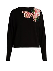 Dolce And Gabbana Floral Applique Wool Cashmere Blend Sweater Black