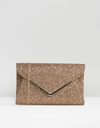 Lotus Printed Satin Envelope Clutch Bag Bronze Printed Satin Brown