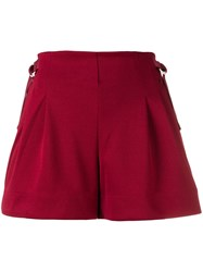 Y 3 Stripes Belted Shorts Red