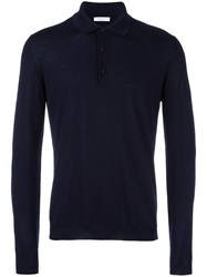 Boglioli Long Sleeve Polo Shirt Blue