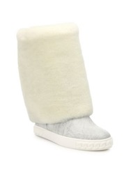 Casadei Sheepskin And Leather Foldover Cuff Boots White Black