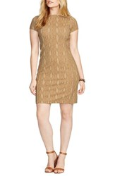Plus Size Women's Lauren Ralph Lauren Python Print Ponte Sheath Dress Tan Multi