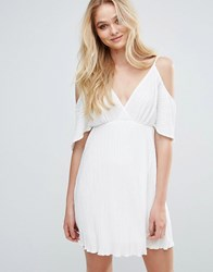 Love Pleated Cold Shoulder Dress Ivory Cream