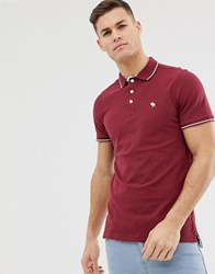 41f6a6a6e Abercrombie And Fitch Stretch Slim Fit Pique Polo Icon Logo In Burgundy Red
