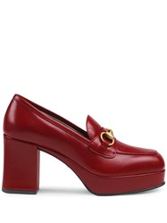Gucci Leather Platform Loafer With Horsebit Red