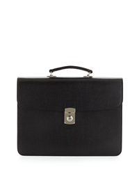 Royce Leather Kensington Single Gusset Leather Briefcase Black