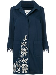 Bazar Deluxe Lace Trim Floral Embroidered Coat Blue