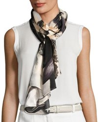 Vince Camuto Orchid Explosion Satin Oblong Scarf Gray