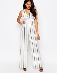 Daisy Street Jumpsuit With Plunge Neck In Stripe Piinstripe White