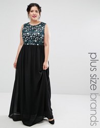 Club L Plus Maxi Dress With Floral Sequin Top Black Multi Flower
