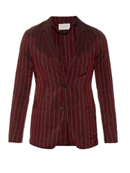 Tomorrowland Single Breasted Striped Satin Blazer Burgundy