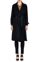 Mason By Michelle Mason Women's Twill Long Trench Coat Navy