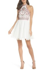 Blondie Nites Embroidered Fit And Flare Halter Dress Ivory Multi