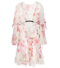 Giambattista Valli Printed Silk Chiffon Dress White