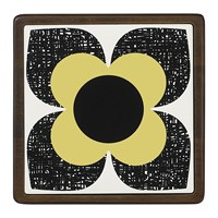 Orla Kiely Scribble Square Flower Trivet Ceramic Wood Primrose