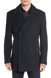 John Varvatos Men's Star Usa Trim Fit Double Breasted Peacoat