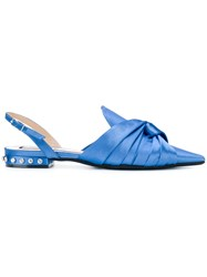 N 21 No21 Knotted Slingback Slippers Satin Leather Blue