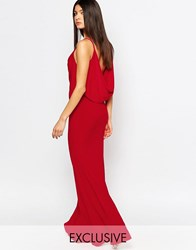 Club L Drape Front And Back Fishtail Maxi Dress Red