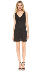 Blk Dnm Mesh V Neck Dress Black