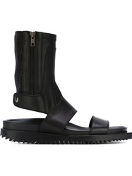 Ann Demeulemeester Ribbed Panel High Sandals Black