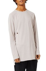 Topman Men's Longline Ripped T Shirt Pink