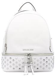 Michael Michael Kors Rhea Studded Leather Backpack Women Cotton Leather One Size White