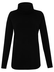 Whistles Cashmere Ribbed Cowl Neck Jumper Black
