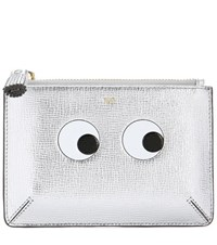 Anya Hindmarch Loose Pocket Small Printed Leather Pouch Silver
