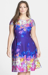 Adrianna Papell Print Fit And Flare Dress Plus Size Purple Multi