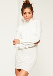 Missguided White Slinky High Neck Open Back Bodycon Dress