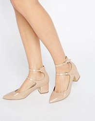 Miss Selfridge Double Strap Pointed Heeled Shoes Nude Beige