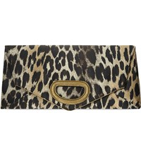 Dries Van Noten Metallic Leopard Clutch Natural