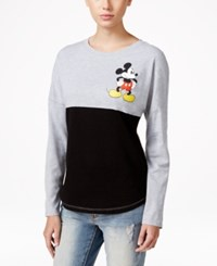 Hybrid Juniors' Long Sleeve Disney Mickey Mouse Graphic Top Heather Grey Black