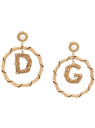 Dolce And Gabbana Faux Pearl Embellished Pendant Earrings Gold