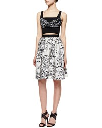 Diane Von Furstenberg Toile Pattern A Line Cutout Dress White Black
