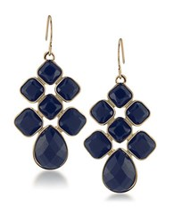 1St And Gorgeous Cabachon Chandelier Earrings In Dark Blue Gold