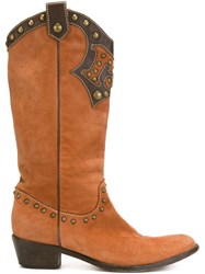 Moschino Vintage Texan Boots Brown