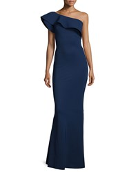 La Petite Robe Di Chiara Boni Elisse One Shoulder Ruffle Mermaid Gown Blue Notee Size 4 Blue Notte