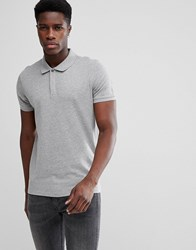 Selected Homme Polo With Concealed Placket Light Grey Melange