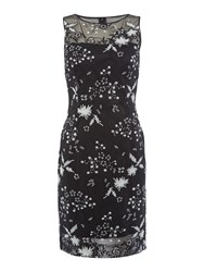 Tahari By Arthur S. Levine Asl Ilussion Sequin Embroidered Shift Dress Black White Black White