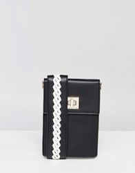 Melie Bianco Vegan Leather Across Body Bag With Contrast Stitched Strap Black White