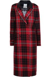 Each X Other Woman Double Breasted Leather Trimmed Checked Wool Coat Red