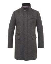 Ted Baker Men's Uplog Funnel Neck Overcoat Grey
