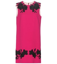 Dolce And Gabbana Wool Crepe Dress With Applique Pink