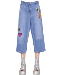 Kenzo Patches Washed Cotton Denim Jeans