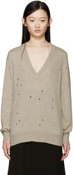 Givenchy Beige Cashmere Distressed Sweater