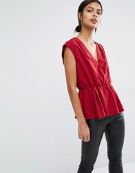 Y.A.S Amber Sleeveless Top Rhubarb Red