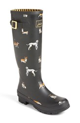 Joules Women's 'Welly' Print Rain Boot Black Dog