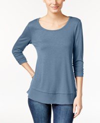 Style And Co Chiffon Hem Top Only At Macy's Blue Fog