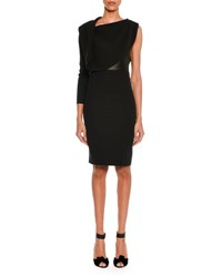 Tom Ford One Sleeve Draped Silk Dress With Leather Corset Black